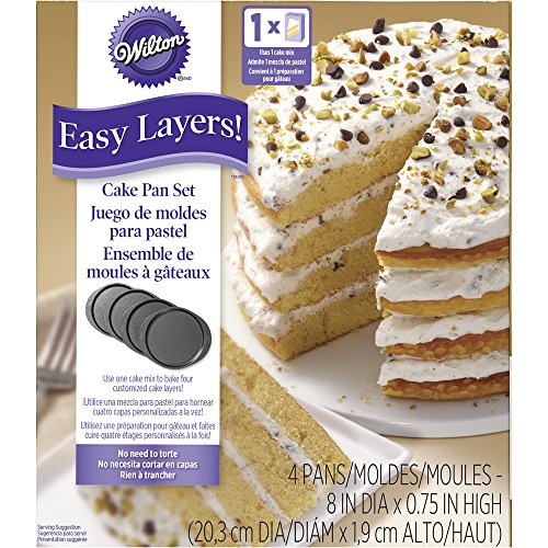Make Gluten Free Surprise Inside Jelly Bean Cake with Wilton 2105-0188 4 Piece Easy Layers Round Cake Pan Set, 8