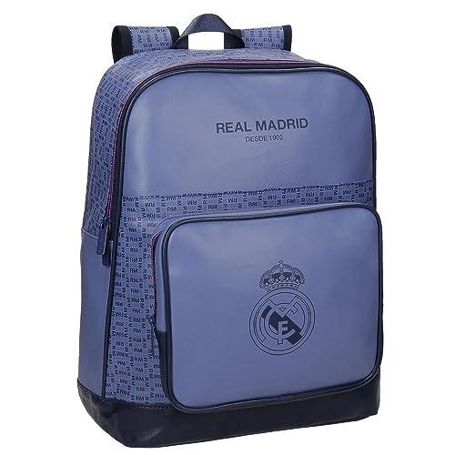 Real Madrid Blue RM Mochila Tipo Casual, 42 cm, 20.79 litros, Morado: Amazon.es: Zapatos y complementos