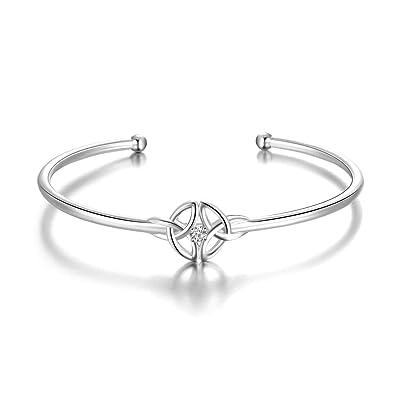 Sterling Silber verstellbarer Celtic Knot offener Armreif für Frauen   Amazon.de  Schmuck 0f1bbb909c