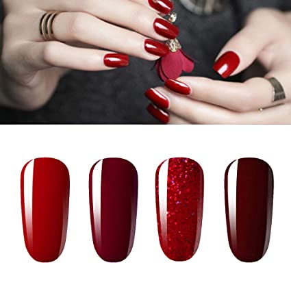 Vishine Lot de 4 Vernis à Ongles Gel Semi Permanent Rouge paillette Bordeaux  Soak Off UV