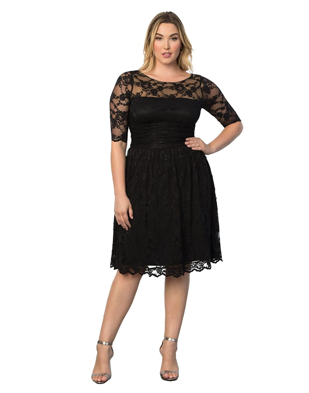 Amazon.com: Kiyonna Women\'s Plus Size Luna Lace Cocktail Dress: Clothing