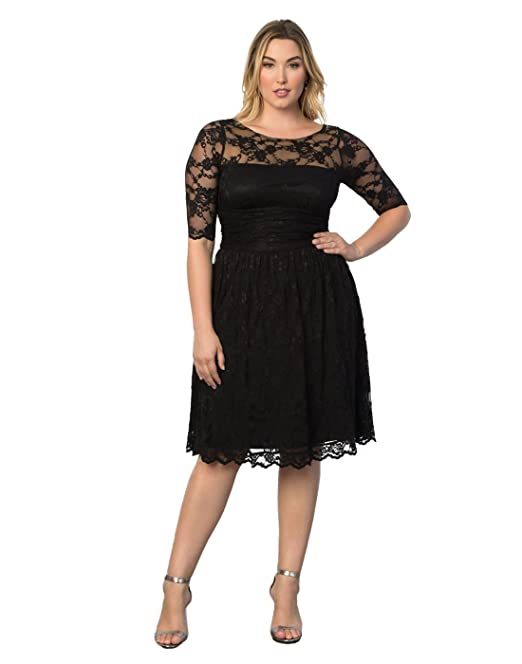 Kiyonna Plus Size Womens Luna Lace Cocktail Dress Holiday Special