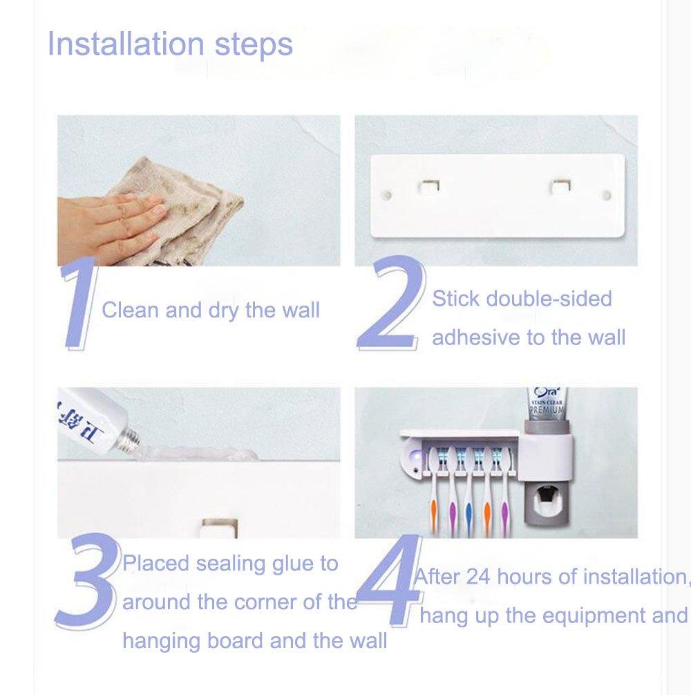 Soporte para cepillos de dientes wekity UV Desinfectar cepillo de dientes pasta de dientes exprimidor Kit montado en la pared 5 soporte con pasta de dientes ...