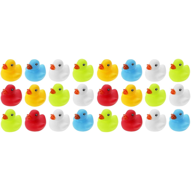 di/ámetro x Altura Wellgro 24 Patos de ba/ño Cada Pato de Goma Mide Aprox Amarillo, Rojo, Blanco, Azul, Verde en Red. Patito de Goma 5,5 x 5 cm