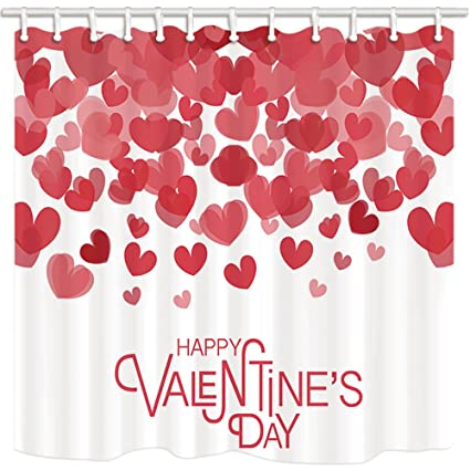 KOTOM Valentines Day Shower Curtain Creativity Heart Shaped Petal Polyester Fabric Anti