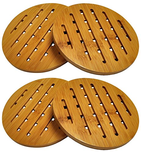 HealthPro Organic Moso Bamboo Collection Heavy Duty Trivet Set (4) (Counter Plate)