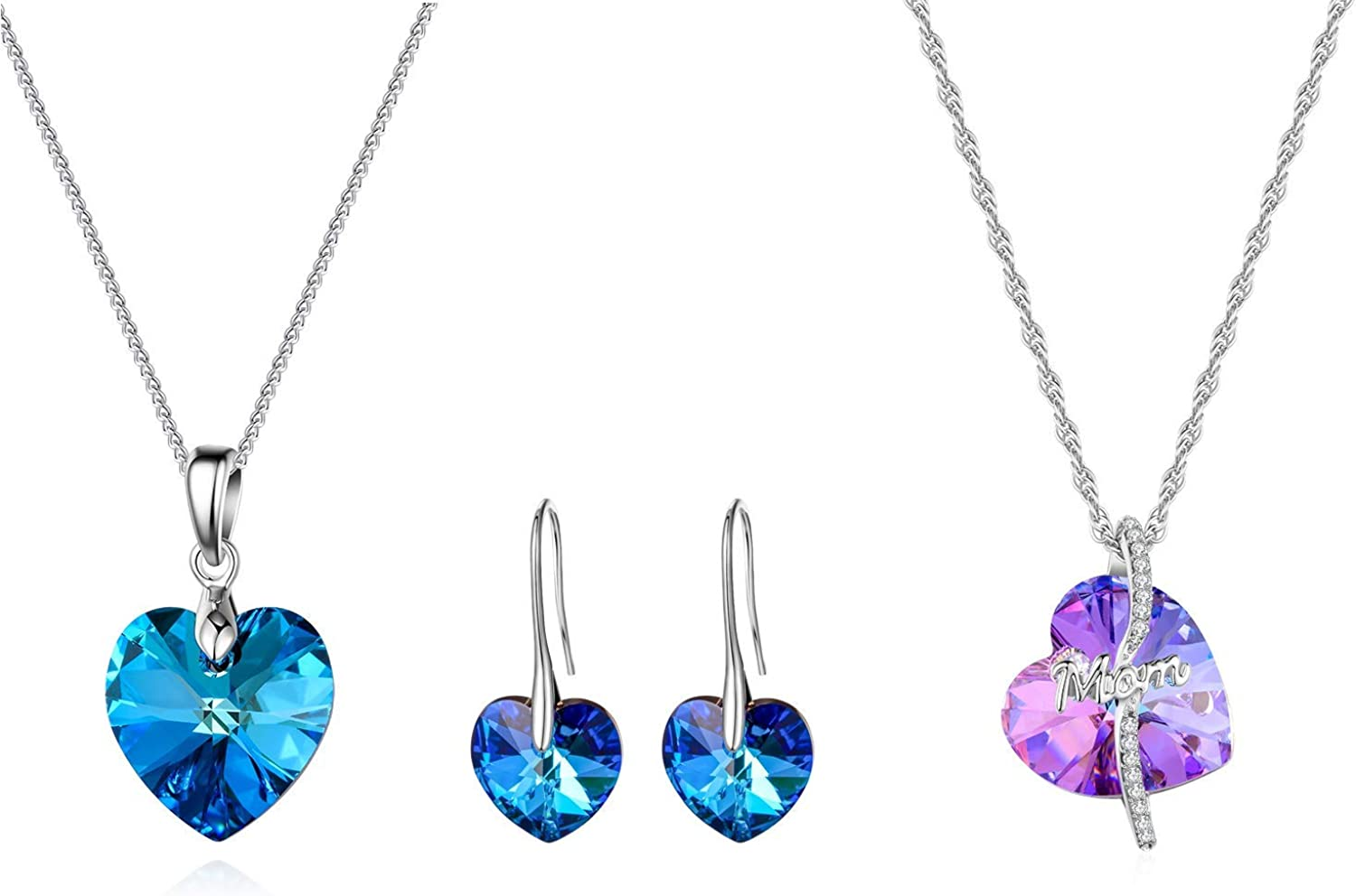 MOOCHI Swaroski Crystal Element Blue Heart Necklace Earrings Set and Purple Heart Necklace
