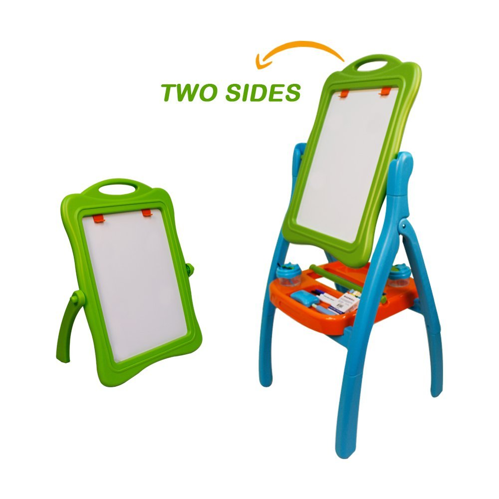 Kids Drawing Board Children Easel Double Sided Adjustable, Chalk Blackboard & White Dry Erase Surface, Disassembled, Suitable for Standing or Sitting Painting, Gift Painting Tools (Green)