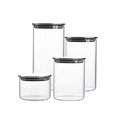 Glass Storage Jar with Airtight Stainless Steel Lids/Clear Glass Canisters Set of 4