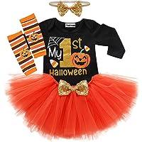 4Pcs Baby Girls My 1st Halloween Outfits Pumpkin Print Romper+Bow Tutu Dress+Warmers Leggings+Headband Skirt Set