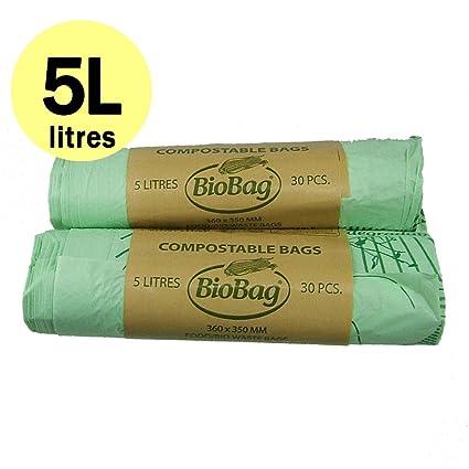 5 litros x 60 bolsas compostables Bolsas - Cocina de basura ...