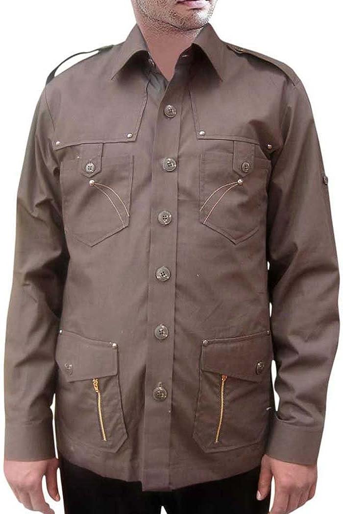 INMONARCH Hombre Safari Camisa para Hombre para Caza Color Marrón Oscuro Algodón Bush de Bolsillo (4 Camisas HS104: Amazon.es: Ropa y accesorios