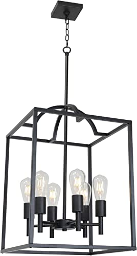 TODOLUZ Large 6-Light Black Cage Chandelier Vintage Farmhouse Lantern Pendant Lighting Fixture for Foyer Kitchen Dining Room