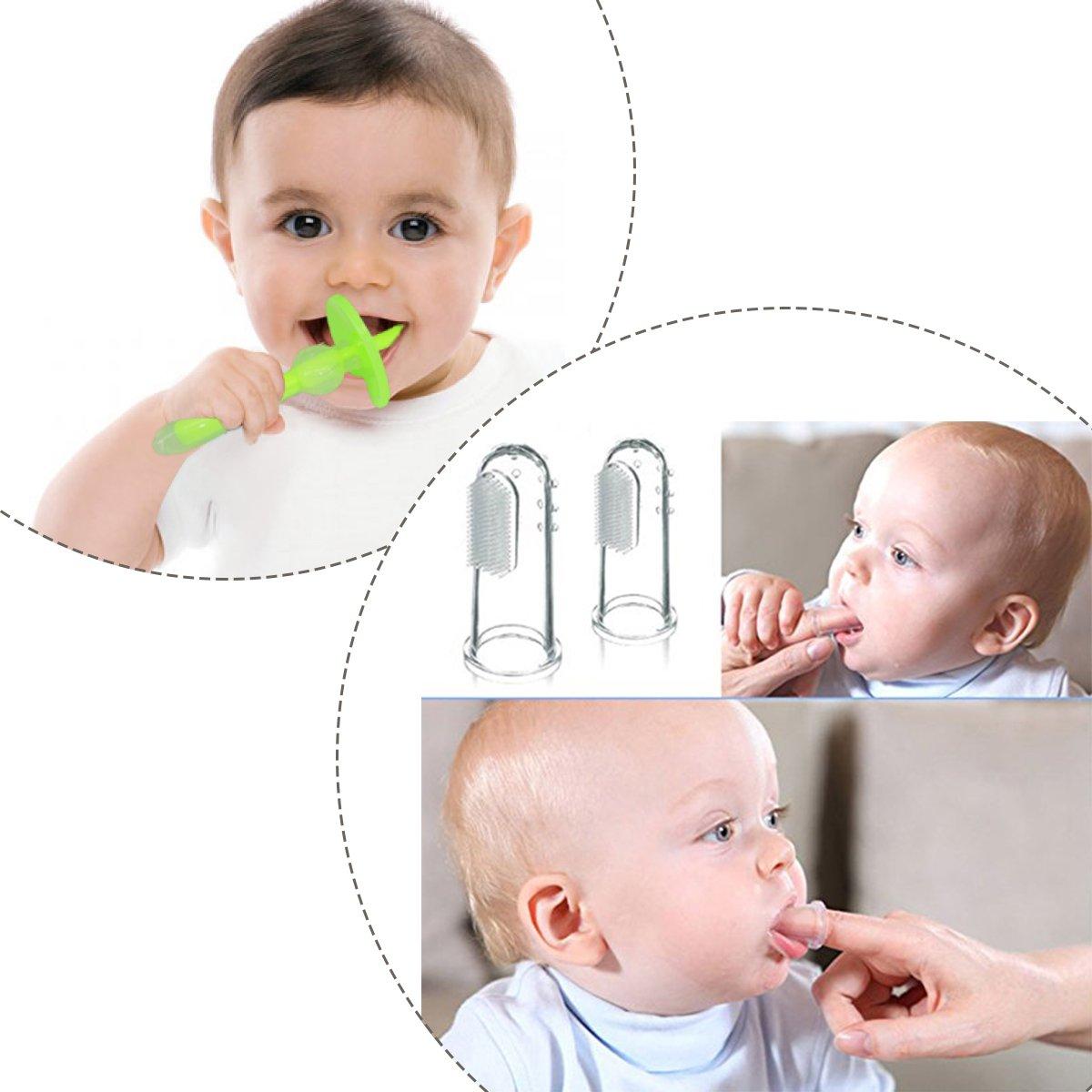 Cepillo de Dientes de Dedo Masaje Oral de Bebé con Set de Caja Colorida, Suave Silicona Cepillo de Dientes - Para Dientes y Encías Masaje (4 unidades): ...