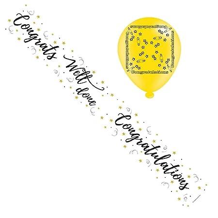 Felicidades Foil bandera del partido y globos ...