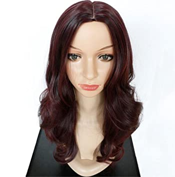 Fa Pelucas Curly largas, Pelo Rojo, Natural Mullido y de Moda para Las Mujeres
