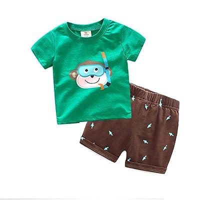 Motecity Fashion Little Boys' Summer Casual Cartoon Printed Set T-Shirt Shorts