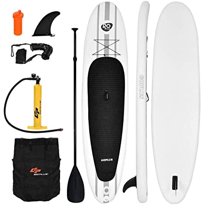 65c899a764f5 Goplus Inflatable 11' StandUp Paddle Board Package w/ Leash Fin Adjustable  Paddle Pump Kit
