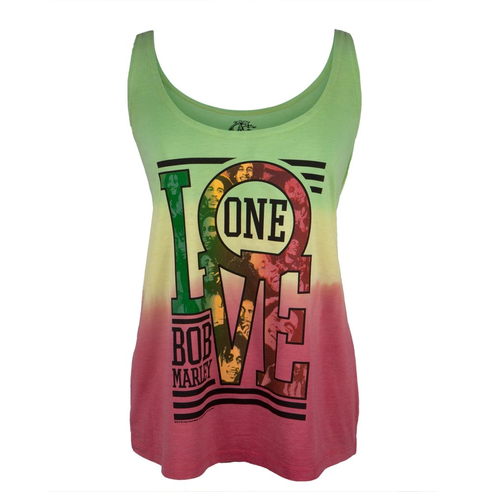 Bob Marley - One Love Collage Tie-Dye Juniors Tank Top - Medium