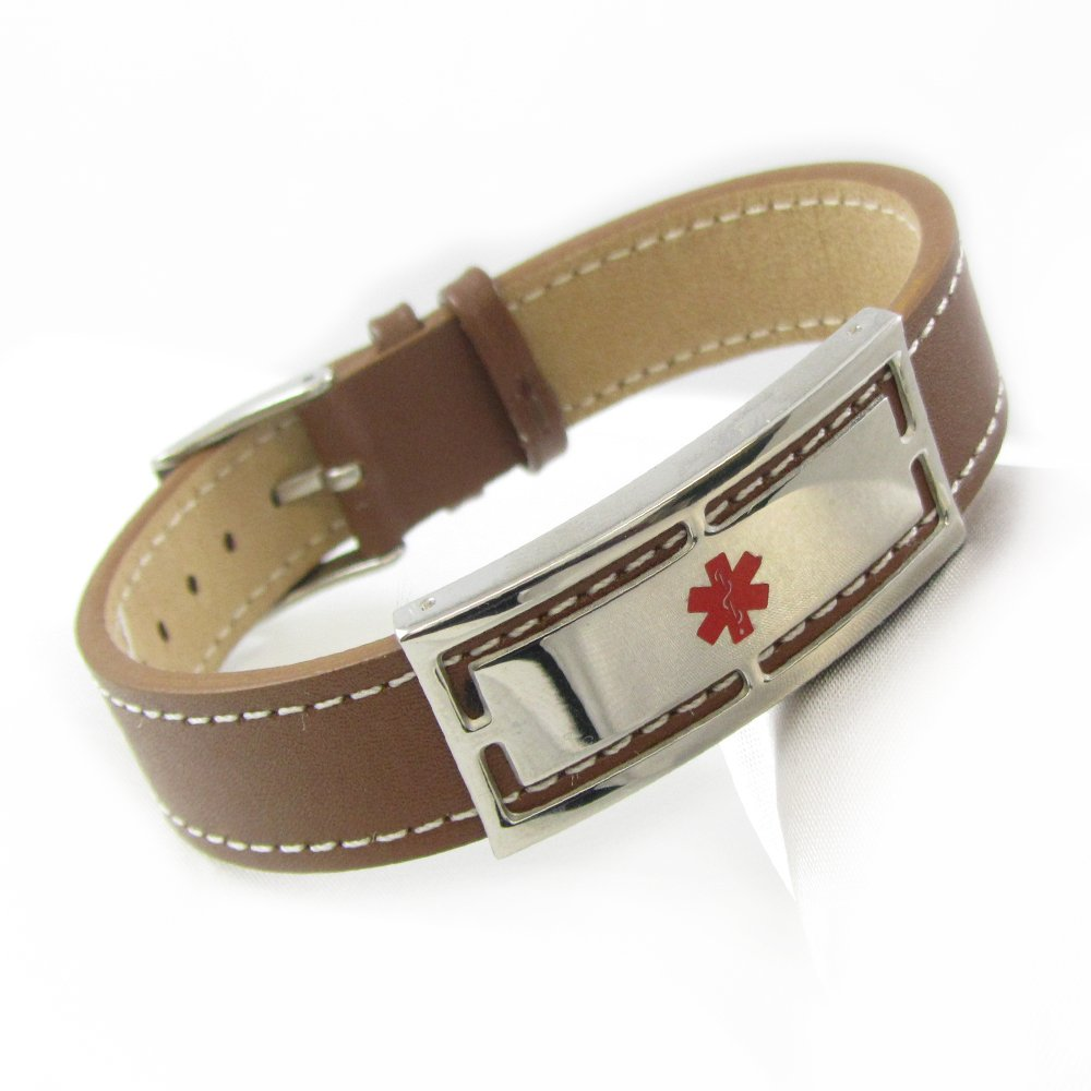 My Identity Doctor Genuine Leather Medical Alert Bracelet with Free Engraving 7in-8.25in Brown