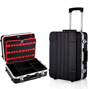 Voluker Caja de herramientas vacía,Maletín de herramientas móvil,33 x 19 x 46 cm,Mango telescópico,Palanca extraíble,Versatilidad,Negro: Amazon.es: ...
