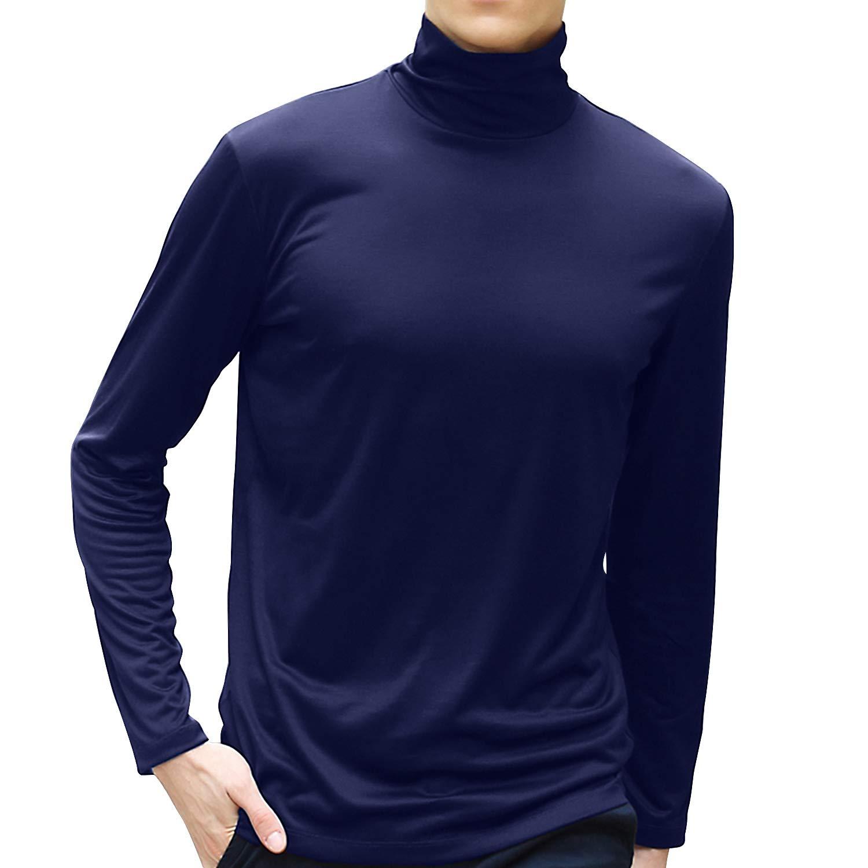 TUPARKAメンズタートルネックソフトロングスリーブトップスキーゴルフサーマルTシャツジャンパー用男性ネイビーブルー(XL)   B07N684P86