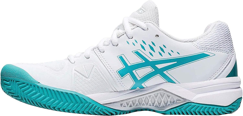 ASICS Gel-Challenger 12 Clay, Zapatillas de Tenis Mujer, White Techno Cyan, 39 EU