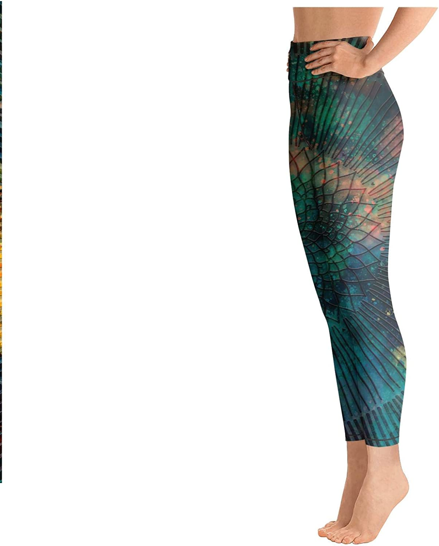 Yoga Leggings for Womens Ornate Stylized Owl Against High Waist Sports Yoga Pants
