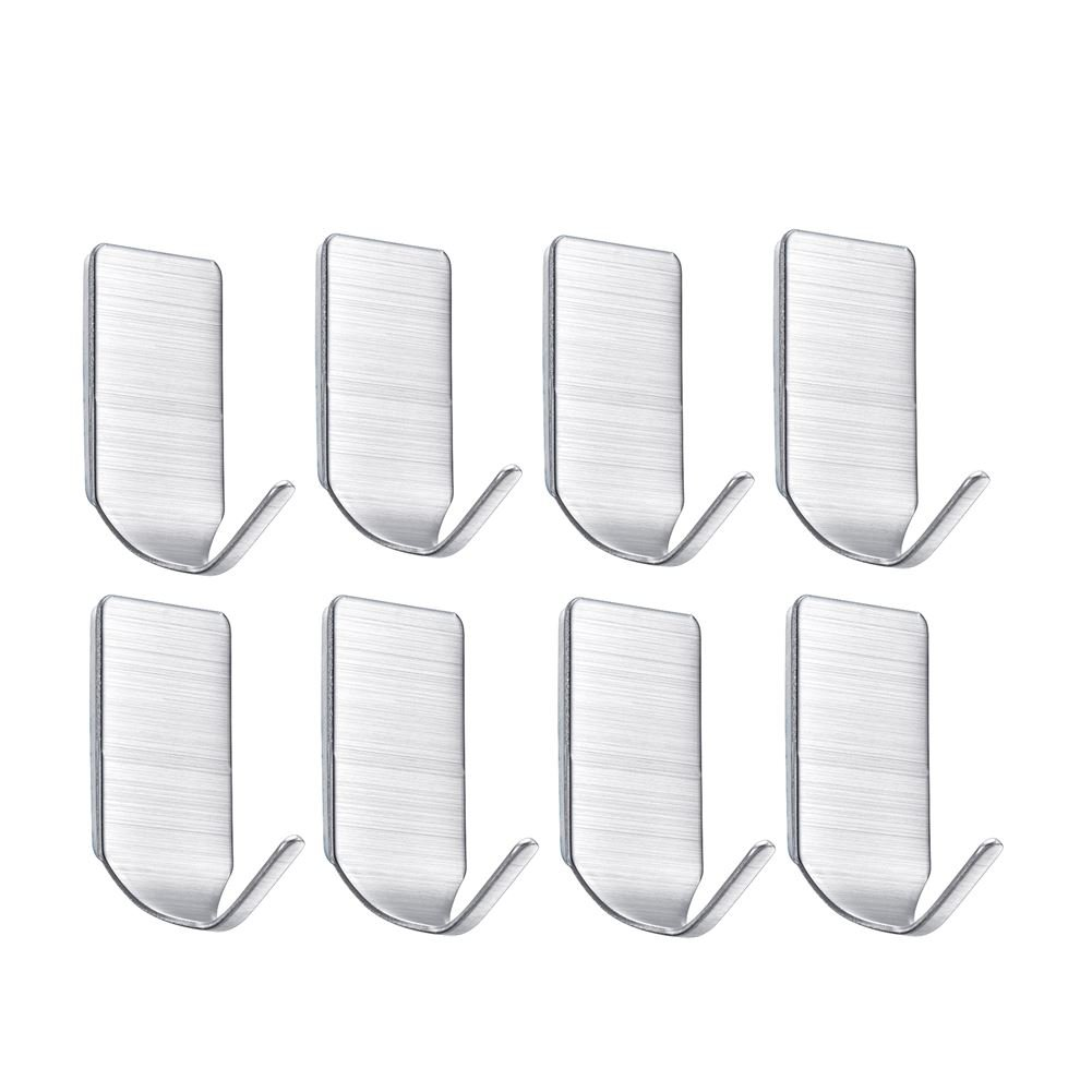 Self Adhesive Hooks Heavy Duty Wall Hooks Wall Hangers Stainless Steel Waterproof Wall Hooks for Robe, Coat, Towel, Keys, Bags, Bathroom,Kitchen, Bedroom, Living room, Office(Pack of 8) YAMUDA