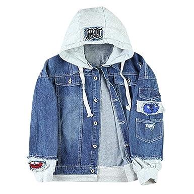 821a87af02f ZAFUL Unisex Casual Hooded Denim Jacket Ripped Letter Number Applique  Embellished Distressed Hoodie Jacket Deep Blue