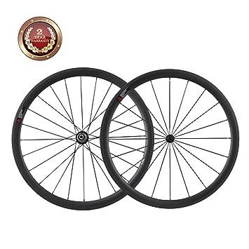 IMUST 38mm 700C Aero Carbono Carretera Bici Ruedas Clincher Shimano 10/11 Velocidad solamente 1380+-20g: Amazon.es: Deportes y aire libre