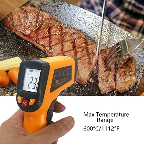 KETOTEK IR Infrared Thermometer,Non-contact Digital Laser Infrared Thermometer Temperature Gun -58℉- 1112℉(-50℃ - 600℃)with LCD Display for Kitchen Food Meat BBQ Automotive and Industrial by KETOTEK (Image #5)