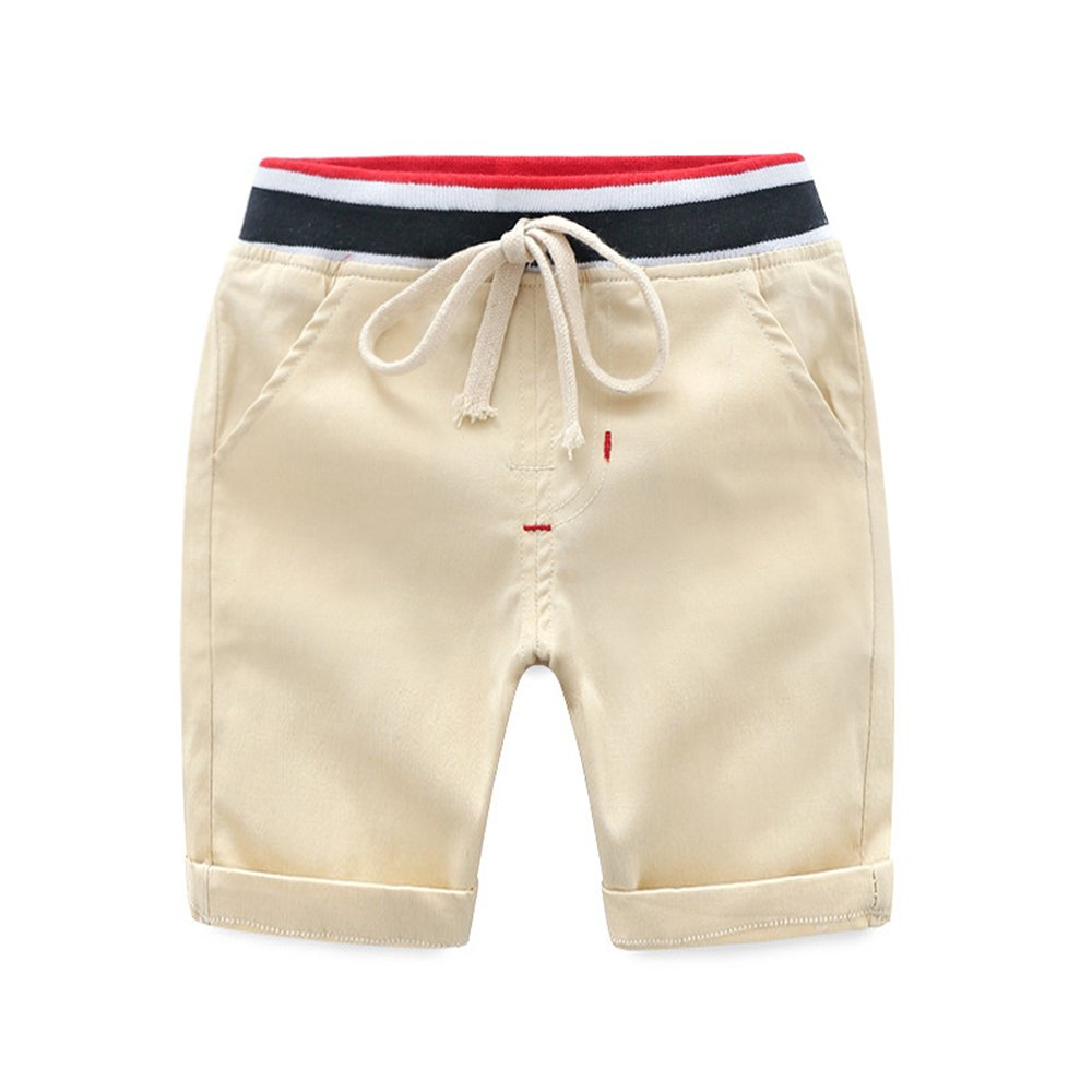 NWAD Little Boys Uniform Shorts Cotton Toddler Boy Clothes for 2-6 Years Casual Summer Beach Clothing (Beige, 5/6)
