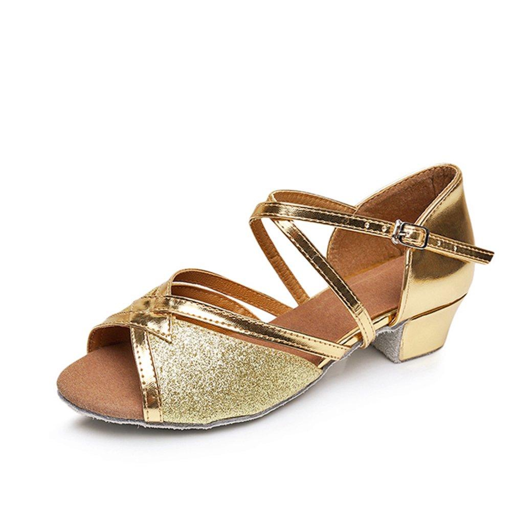 QWERTYUIOP Girl Latin Dance Shoes,Girls  Shoes Ballroom Dance Shoes Middle Heels Soft Bottom Latin Dance Sandal