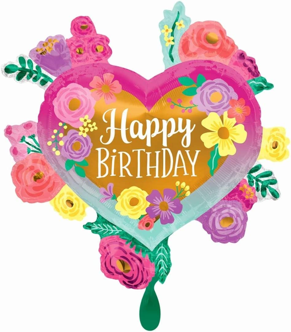 Multicolor Anagram 27 Happy Birthday Painted Flowers Foil Balloon