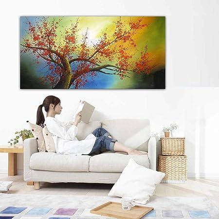 Liefengda Peinture à L Huile Sur Toile Fleur Rouge Vif Grand