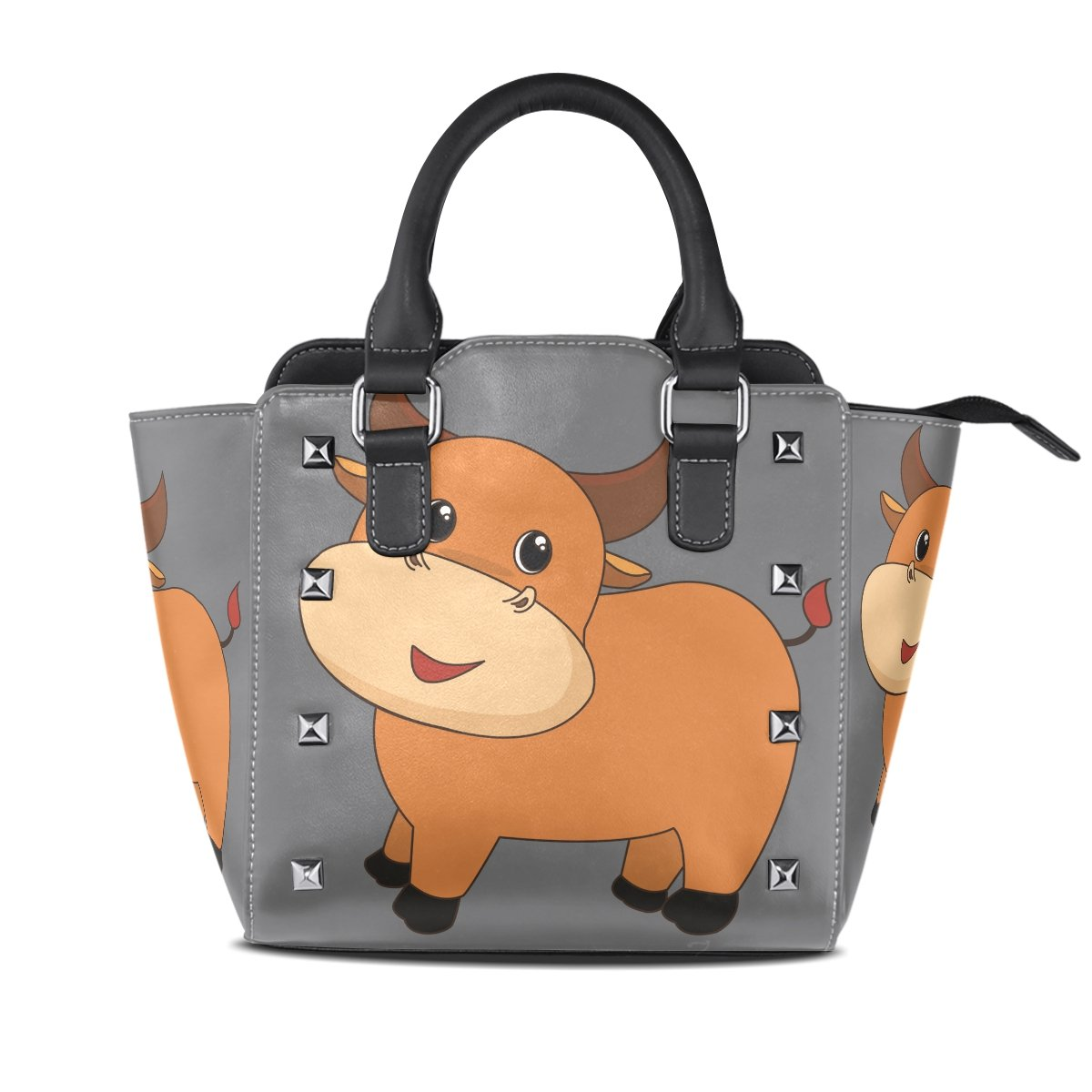 Womens Genuine Leather Hangbags Tote Bags Brown Cow Purse Shoulder Bags