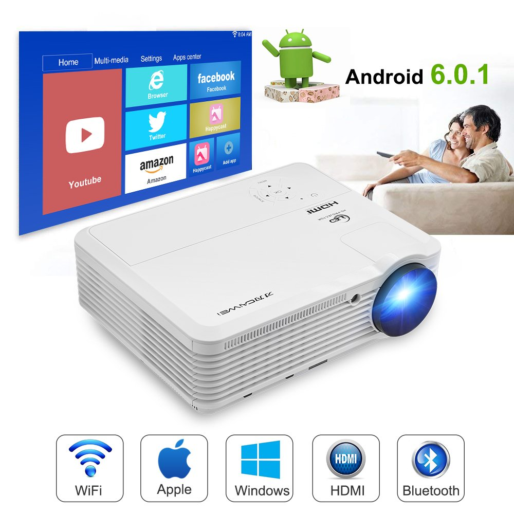 9. Caiwei WiFi Projector Wireless Bluetooth, Multimedia Projector
