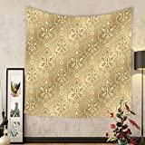 Gzhihine Custom tapestry Beige Decor Tapestry Damask Patterns Weaving Byzantine Islamic Antique Lace Floral Motifs Nostalgic Retro Chic Deco Bedroom Living Room Dorm Decor Beige