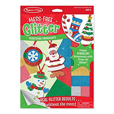 Melissa & Doug Mess-Free Glitter Christmas Ornaments (6 Ornaments, 7 Glitter Sheets, Great Gift for Girls and Boys - Best for 5, 6, 7, 8, 9 Year Olds and Up): Toy: Toys & Games