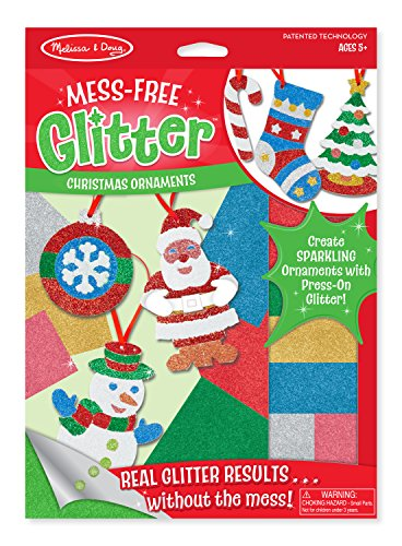 Melissa & Doug Mess-Free Glitter Christmas Ornaments - 6 Ornaments, 7 Glitter Sheets (Ornament Kits)