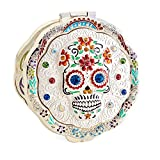 Jinvun Halloween Makeup Gifts Silver Compact Metal Purse Mirror Antique Round Vintage Day The Dead Sugar Skull