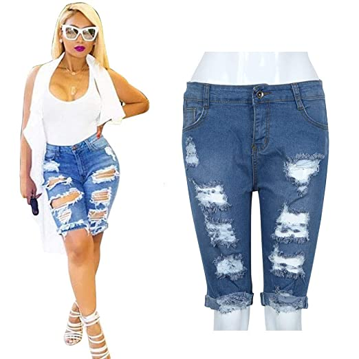 b98da12320 iLUGU Sexy Women Girl Elastic Hole Leggings Short Scrub Pants Pants Denim  Shorts Ripped Jeans