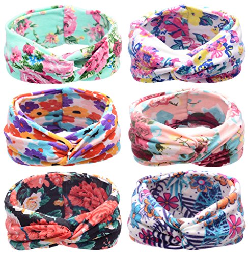 Girls Head Scarf - Toptim Baby Girl's Turban Headband Head Wrap Knotted Hair Band (Cross Model 6 Pack)