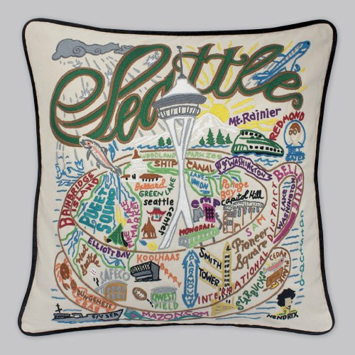 Seattle Pillow by Catstudio Embroidered Pillow