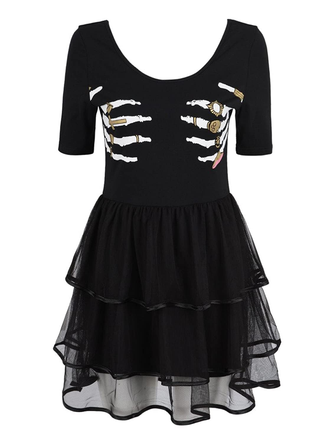 Women's Black Skeleton Hand Print Tulle Panel Layer Dress