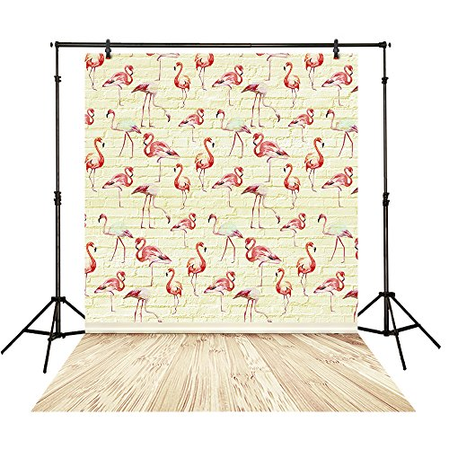 Funnytree 5X7FT Polyester Backdrop Flamingo Patterns on Yellow Brick Wall Plank Floor Vintage Background for Baby Children Photography -