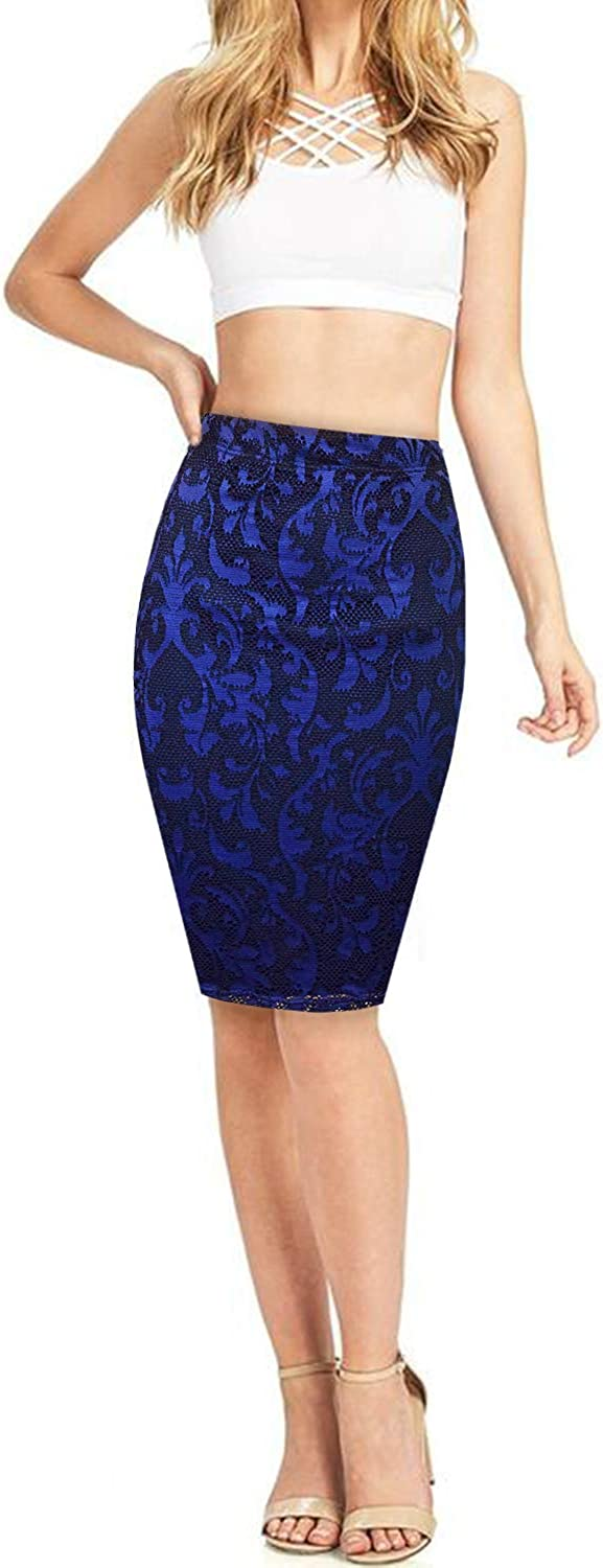 HyBrid & Company Women's Elastic Waist Stretchy Office Pencil Skirt with Beautiful Prints