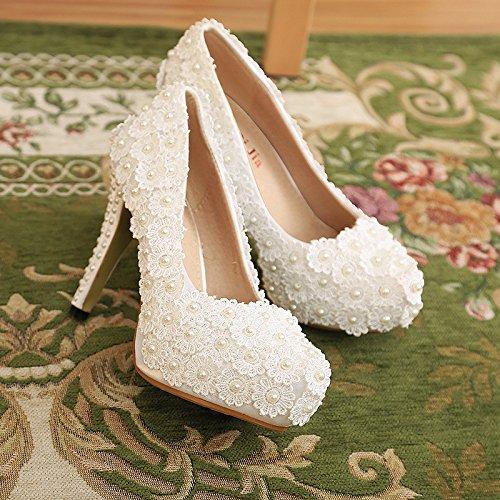 KPHY-Shallow Shoes Ladies Impermeable Mesa Cabeza Redonda Perla Redonda Solo Zapatos Zapatos De Encaje De La Boda Flor Blanco Treinta Y Nueve Thirty-five