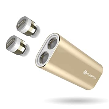Rowkin Bit Charge Stereo: Auriculares inalámbricos con cargador portátil. Audífonos Bluetooth, auriculares inalámbricos